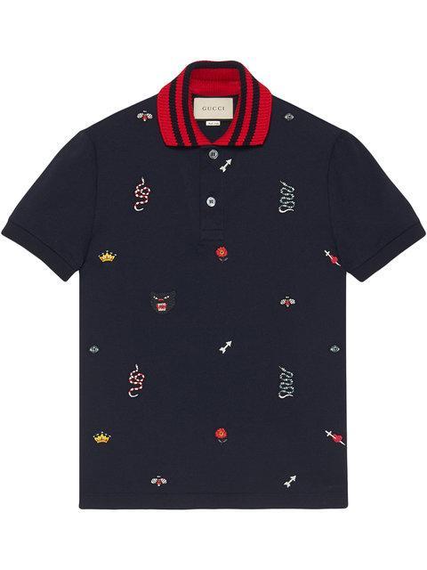 Gucci Multi-Logo Embroidered Cotton-PiquÉ Polo Shirt In 4033 Ink/Multicolor