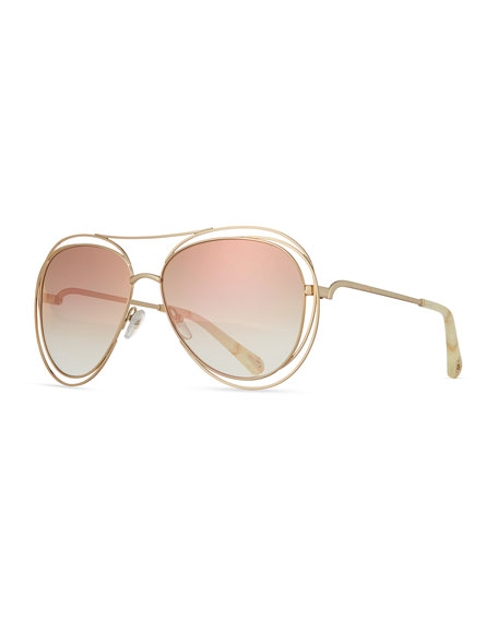 d67bd49fe2 Carlina Mirrored Aviator Sunglasses, 61Mm in Metallic
