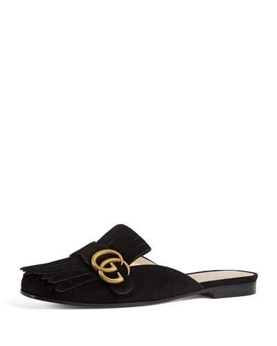 fadb3d10c9b0 Gucci Marmont Fringed Logo-Embellished Suede Slippers In Black ...