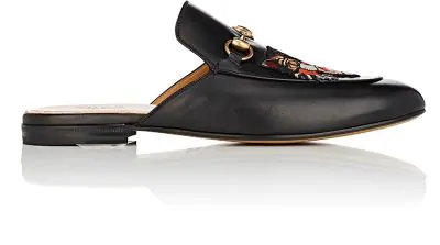 21817bb3d Gucci Kings Embroidered Horsebit Backless Loafers In Black | ModeSens