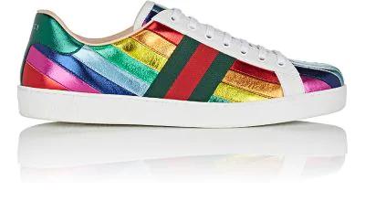 191a3b679a5 GUCCI Men s Ace Metallic Leather Rainbow Sneakers in Multi. Gucci Men
