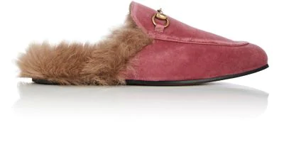 760d4d503a5c Gucci Men s Princetown Velvet And Lamb Fur Slippers In Pink