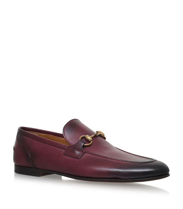 Gucci Horsebit Burnished-leather Loafers In Burgundy