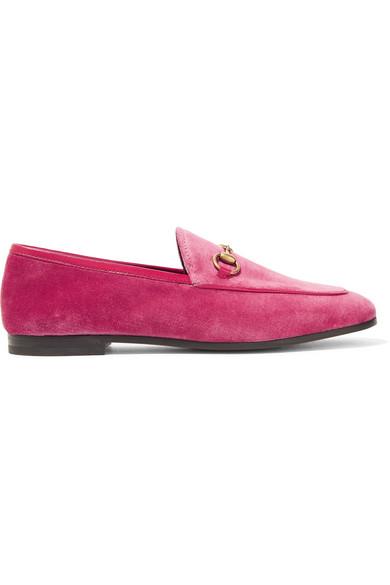 fdc933272ea Gucci Jordaan Horsebit-Detailed Leather-Trimmed Velvet Loafers In Bubblegum