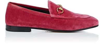Gucci Jordaan Horsebit-Detailed Leather-Trimmed Velvet Loafers In Md. Red