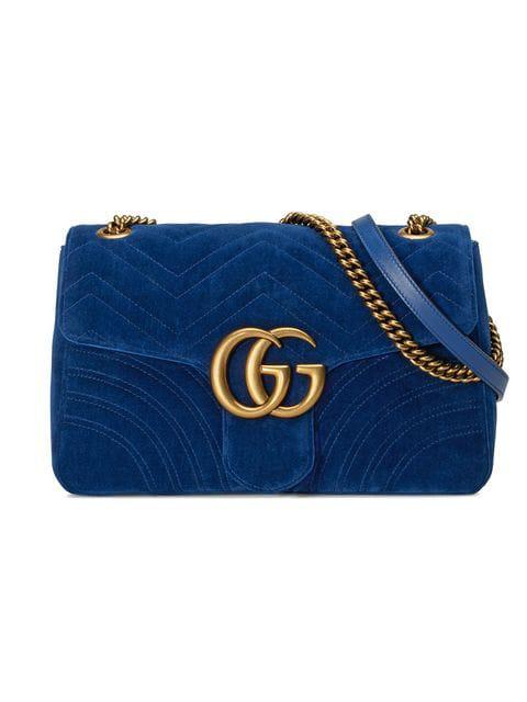 Gucci Gg Marmont 2.0 Mini Velvet Shoulder Bag, <Font><Font>Cobalt</Font></Font> In Blue