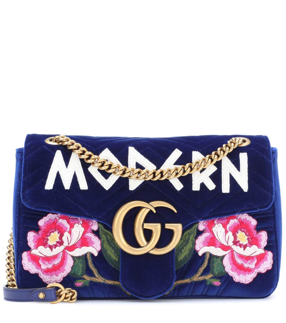 290cc32b99f5eb Gucci Gg Marmont Medium Embroidered Velvet Chain Shoulder Bag In Blue