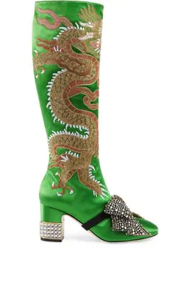 6053cb817d0 Gucci Ladies Green Candy Dragon Embroidered Satin Knee-High Boots In Palm  Grn