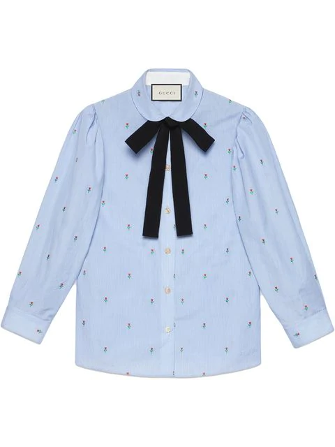 61b5eec31c92fa Gucci Bow-Embellished Embroidered Striped Cotton Shirt In 4969 Blue ...