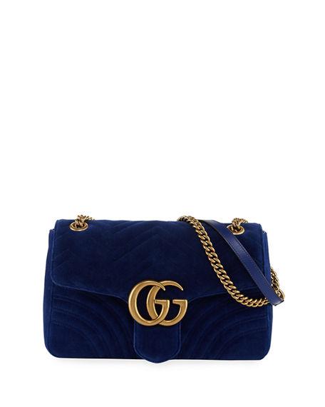 b3fee1e15 GG Marmont 2.0 Medium Quilted Shoulder Bag, <FONT><FONT>COBALT</FONT></FONT>.  Gucci matelasse velvet ...