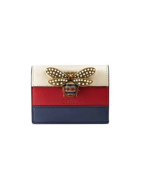 Gucci Queen Margaret Leather Card Case Wallet In Blue