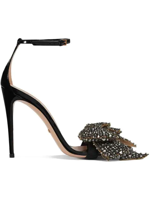 53842cd3f Gucci Crystal-Embellished Detachable-Bow Leather Sandals In Black ...