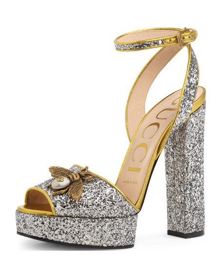 eb224b828829 Gucci Soko Glittered Ankle-Wrap Platform Sandal