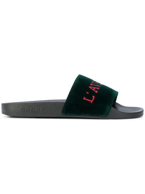ccd72c0d70e Gucci Pursuit Embroidered Velvet Pool Slide Sandal