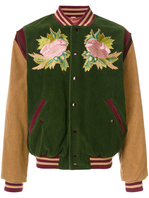 36354ef4aa7 Gucci Multicolor Corduroy  Modern Future  Bomber Jacket In Green ...