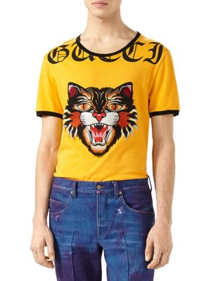 b3bf8f03f557 Gucci Cotton T-Shirt With Angry Cat AppliquÉ In Limon Multi | ModeSens