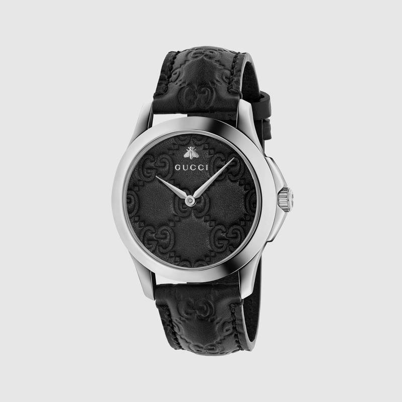 Gucci Watch G-Timeless Watch Case 38 Mm With The Engraved Gg Monogram In Black  Signature