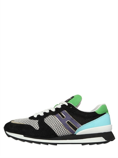 Hogan Rebel Suede, Leather And Mesh Sneakers In Multicolor