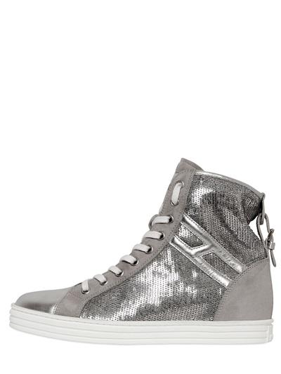 Hogan Rebel 50mm Sequin & Suede Sneakers In Silver