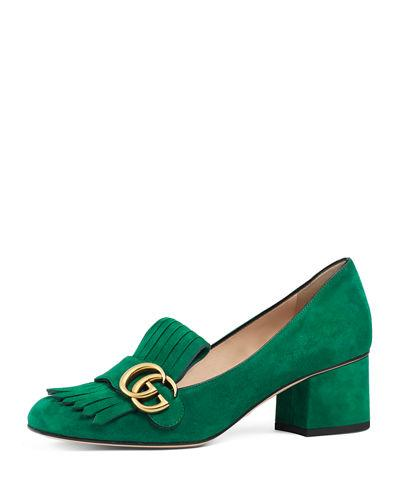 8b01c6a319c Gucci Marmont Fringe Suede 55Mm Loafer In Green