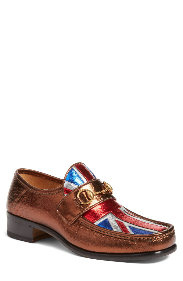 Gucci Vegas Union Jack Horsebit Leather Loafer, Bronze In Brown Multi