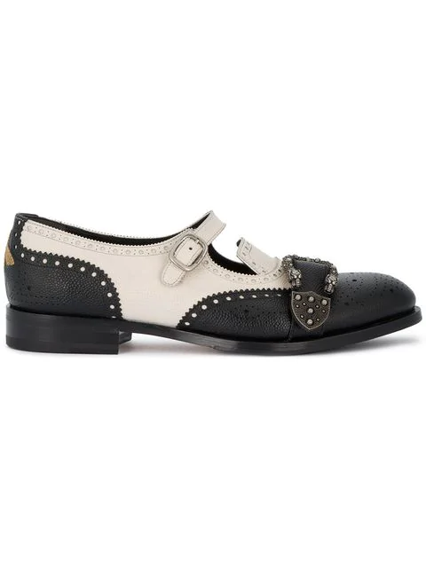 c5f339cbe Gucci Queercore Brogue Leather Monk Shoes In Black | ModeSens