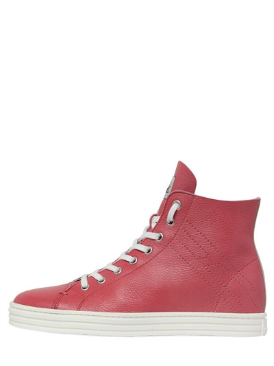 Hogan Rebel 50mm Soft Leather High Top Sneakers In Pink