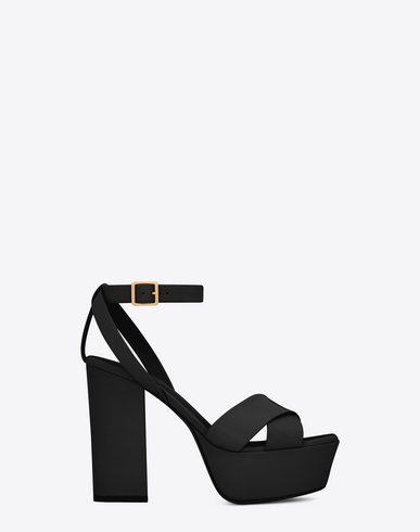 9ad59e52fb2 Saint Laurent Farrah Crisscross Sandal In Leather In Black
