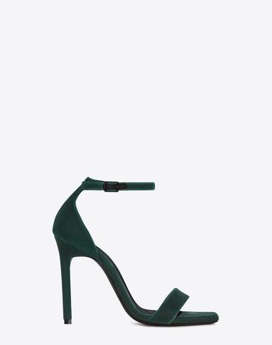 09145707749 Saint Laurent Amber 105 Ankle Strap Sandal In Dark Green Velvet ...