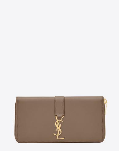 dbf4bfb33de Saint Laurent Ysl Zip Around Wallet In Taupe Leather   ModeSens