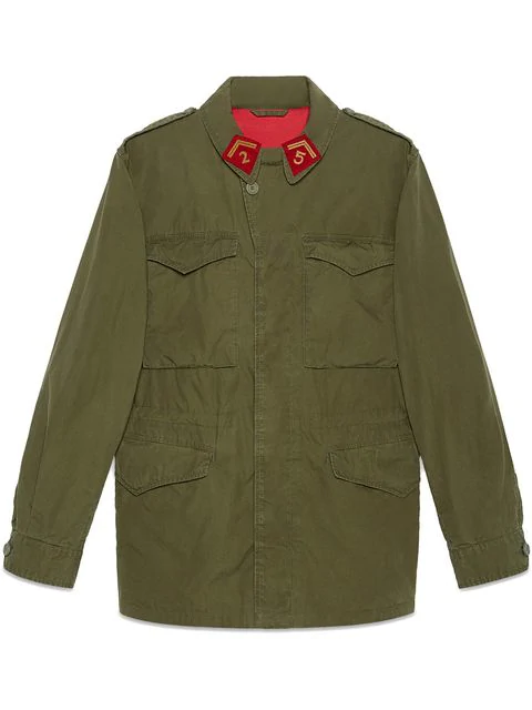 874567d6 Gucci Resinated Cotton Parka With Vintage Logo Print In Olive | ModeSens
