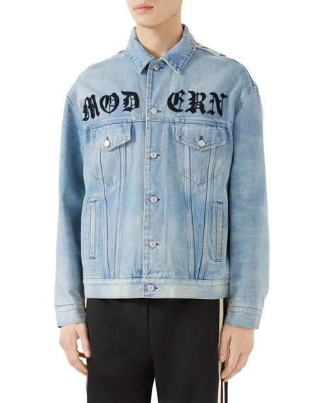 a5d9256e3 Gucci Oversized Embroidered Printed Denim Jacket In Blue | ModeSens