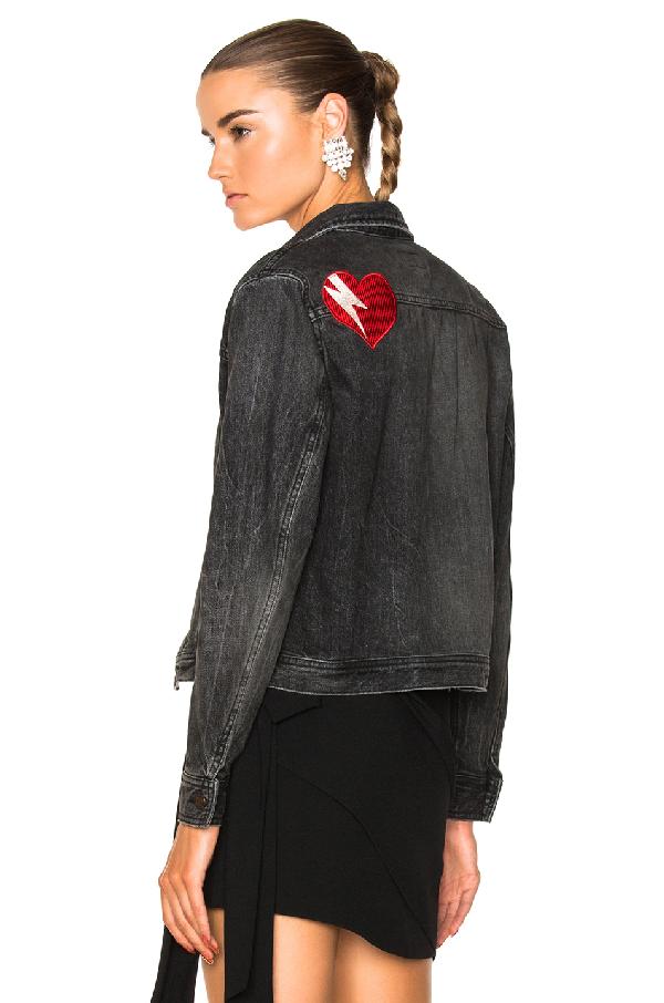 03995d0d9a Original Ysl Heart And Lightening Bolt Patch Jean Jacket In Black Bleached  Denim in Black,Gray