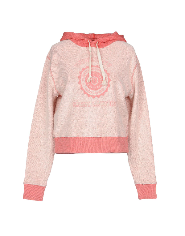Saint Laurent UniversitÉ-print Hooded Terry-towelling Sweatshirt In Pink