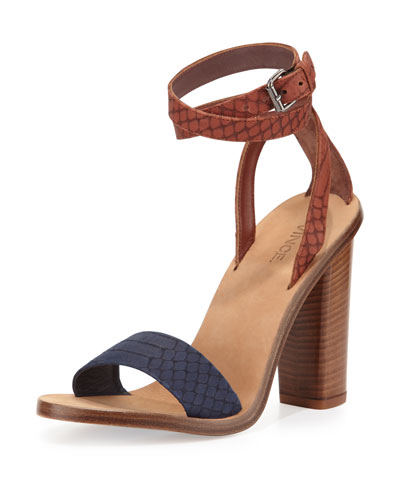 Vince Nava Snake-embossed Ankle-wrap Sandal, Indigo/whiskey In Heather Indigo/whiskey
