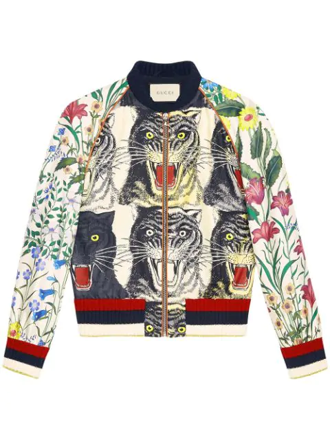 9c6083e5a Appliquéd Printed Silk-Twill Bomber Jacket in Red