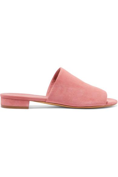 Mansur Gavriel Soft Suede Flat Slide Sandal In Blush