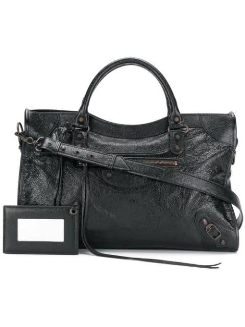 6b2ca2f6008 Balenciaga Classic City Small Leather Tote Bag With Logo Strap In Black