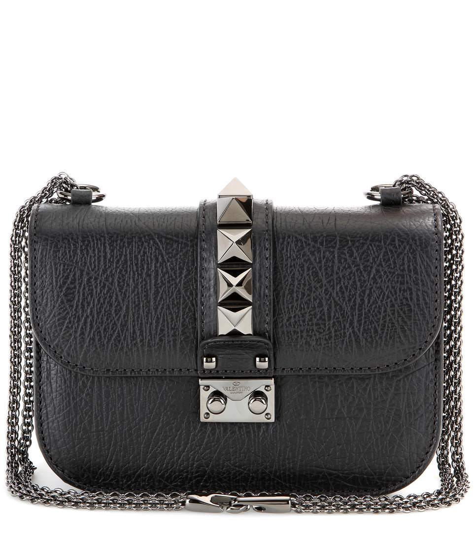 Valentino Garavani Lock Noir Small Leather Shoulder Bag In Black