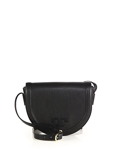 Tory Burch Serif-t Leather Saddle Bag, Black