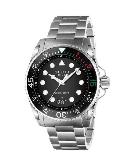 Gucci Dive Stainless Steel Watch In Silver
