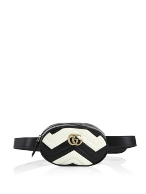 f93711dafae486 Gucci Gg Marmont MatelassÉ Leather Belt Bag In Black-White | ModeSens