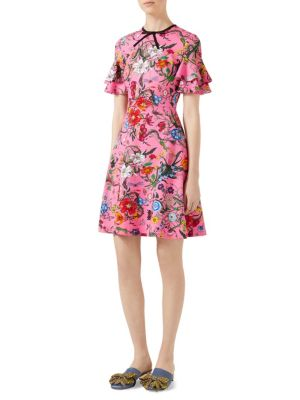 066059f98 Gucci Ruffled Printed Stretch-Jersey Mini Dress | ModeSens