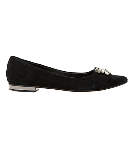Dune Beaux Jewelled Pointed-toe Flats In Black-suede