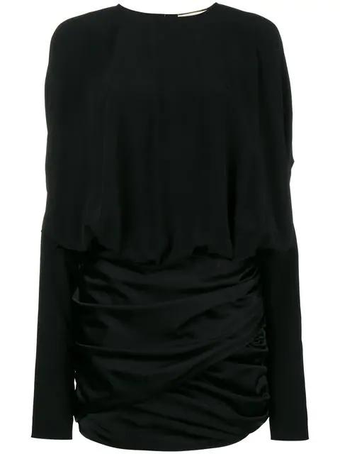 Saint Laurent Draped Shoulder Mini Dress In Black Satin
