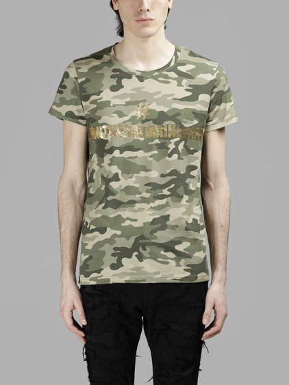 7fb69045 Balmain Camouflage Cotton T-Shirt With Print In Green | ModeSens