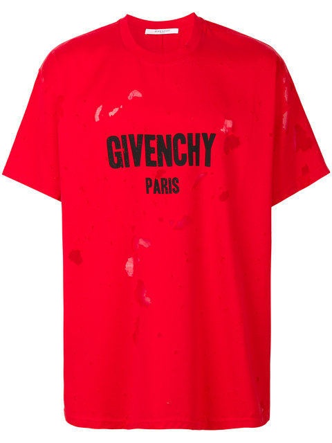 8b0a7d114 Givenchy Columbian-Fit Distressed Cotton-Jersey T-Shirt In Red ...