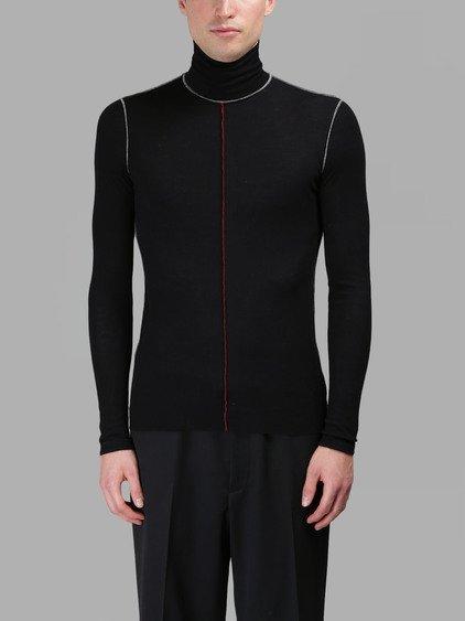 Maison Margiela Men's Black Fine Ribbed Knit Turtleneck T-Shirt