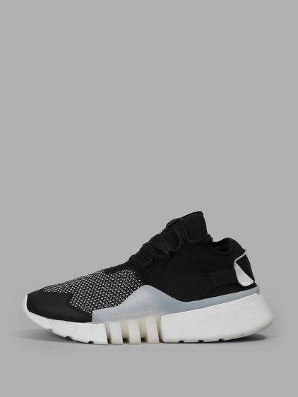 114a2a62b Y-3 Black And White Ayero Neoprene   Leather Sneakers