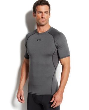 Under Armour Heatgear Compression Fit T-Shirt In Carbon Heather